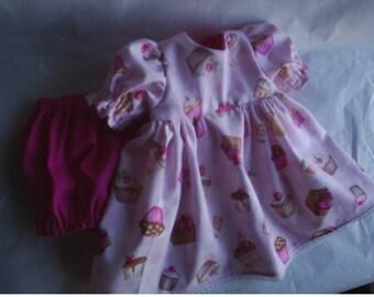 Doll Dress and Panties Tossed CupCakes American Girl Gotz dolls HandMade