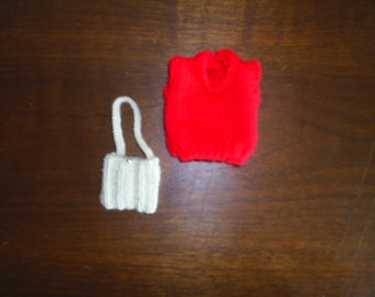 HandKnit Pullover Sweater and Purse clothes to fit Barbie Dolls