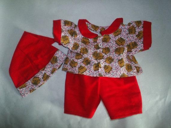 Build a Bear BaseBall Pajamas Set 3 piece fits Hello Kitty HandMade Doll Clothes