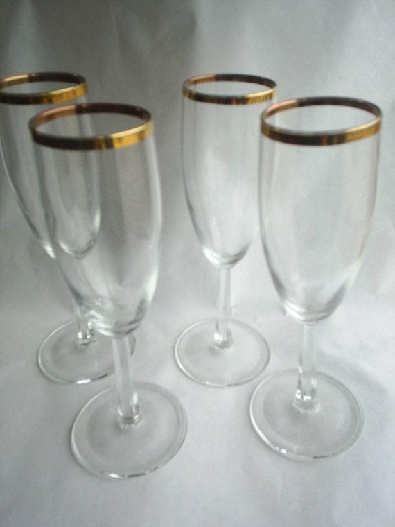 4 Glass Gold Rimmed Wine Goblets Glasses