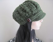 Park Avenue Newsboy Cap in Olive
