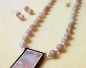 Mauve and Gray Intarsia Pendant Necklace