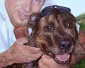 """Terriers'nTats, custom Pet Portrait Oil Painting, 10x12"""" (pet&person)"""