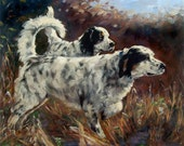 """Hunting Dogs, CUSTOM Pet Portrait oil Paintings by puci, 10x12"""" (2 pets)"""