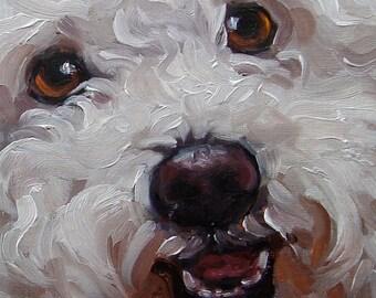 "Pet Lovers, custom Pet Portrait Oil Painting by puci, 8x8"""