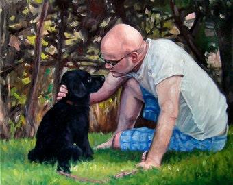 """PerennialPals, CUSTOM Pet Portrait Oil Painting, 10x12"""" (pet&person)"""