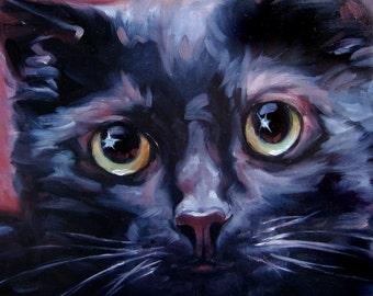 """Mystical Black Cat, custom cat painting, Pet Portrait Oil Painting by puci, 8x8"""""""
