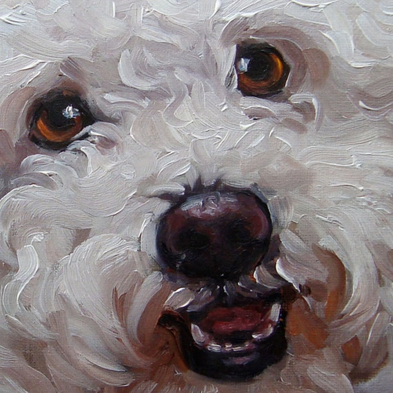 Pet Lovers, custom Pet Portrait Oil Painting by puci, 8x8""
