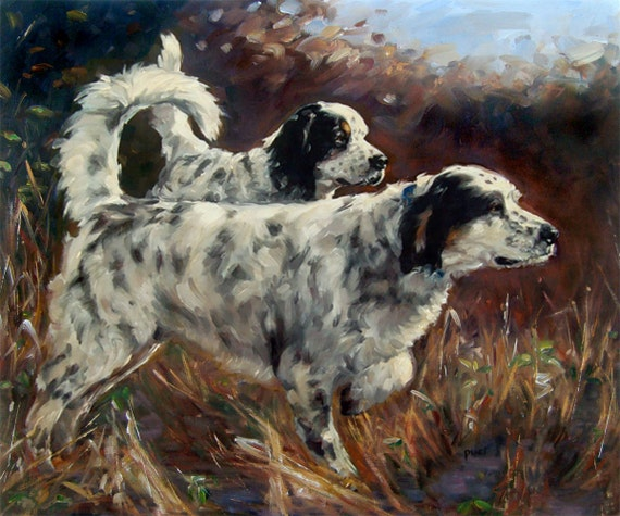"OnPoint, CUSTOM Pet Portrait oil Paintings by puci, 10x12"" (2 pets)"