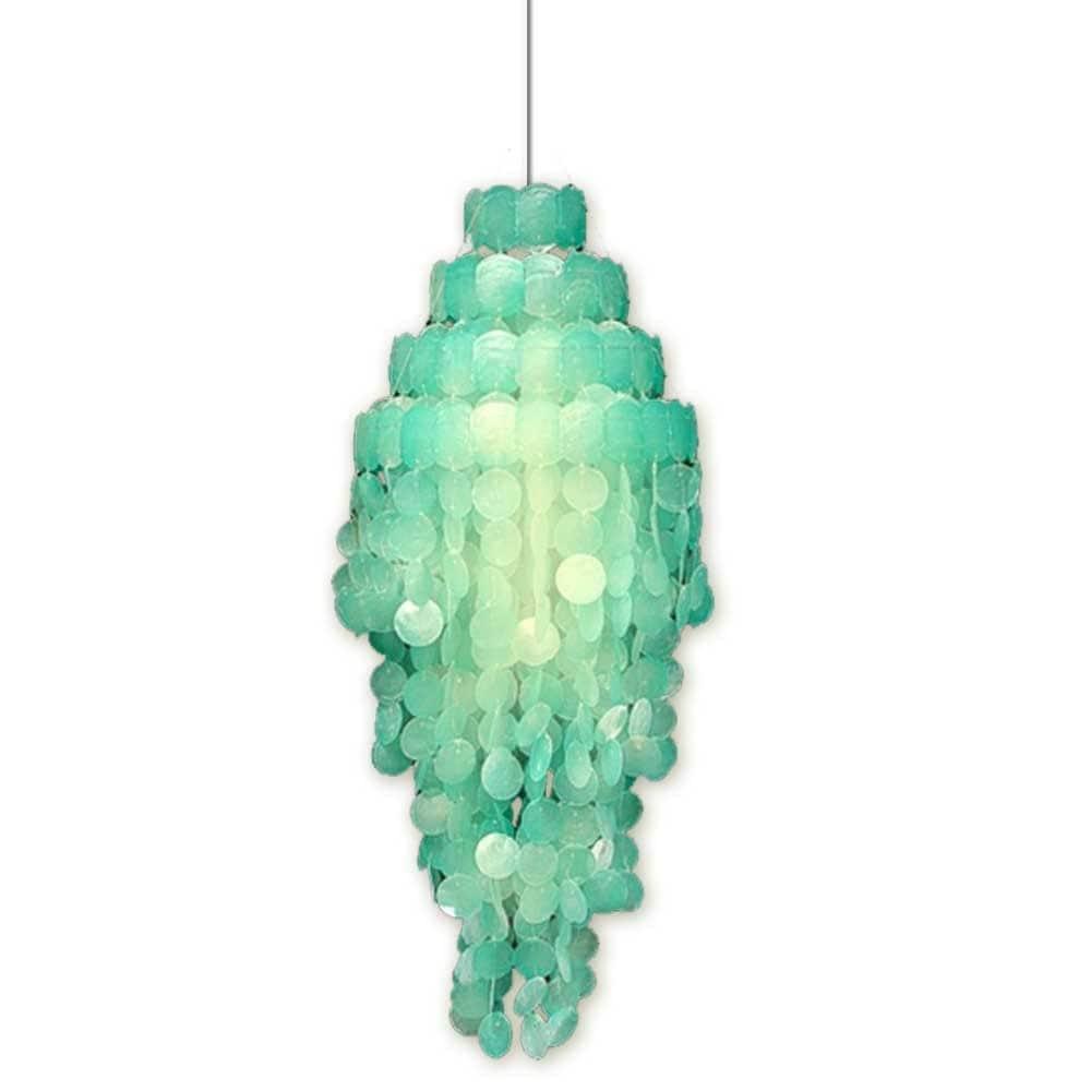 aqua capiz hanging light fixture. Black Bedroom Furniture Sets. Home Design Ideas