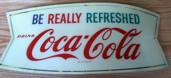 Authentic Vintage Coca Cola Plastic Acrylic Barrel Sign Original