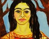 Frida Kahlo painting, Frida and the Bare Trees original acrylic painting