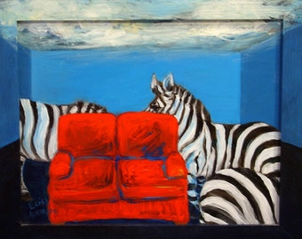 zebra painting, Zebra Living Room original acrylic painting on tin and wood