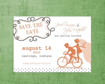 SAVE THE DATE Wedding Announcements-Vintage Sillouhette