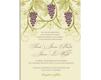 Vineyard Themed Wedding invitations -Stationery by razzledazzledesign on Etsy