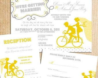 Vintage Bicycle Sillouhette Wedding Invitations - Yellow Gray Grey - Stationery by razzledazzledesign on Etsy