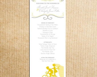 Vintage Bicycle Sillouhette Wedding Program - Yellow Gray Grey-- Stationery by razzledazzledesign on Etsy