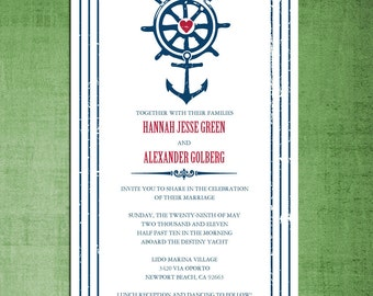 Nautical Beach Theme Wedding Invitations - Rehearsal Dinner Invitation