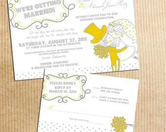 Whimsical Vintage Cartoon Couple Wedding Invitation Yellow Grey Gray - Stationery by razzledazzledesign on Etsy