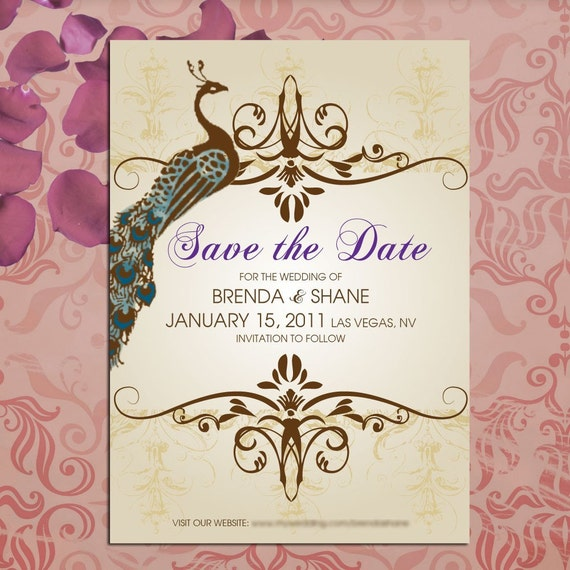 Save the Date Vintage Peacock Wedding Cards - Stationery by razzledazzledesign on Etsy