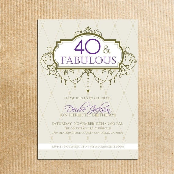 Adult 40th Birthday Party Invitations - Digital File - Stationery by razzledazzledesign on Etsy