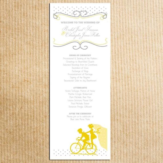 Vintage Bicycle Sillouhette Wedding Program - Yellow Gray Grey-- Stationery by razzledazzledesign on Etsy