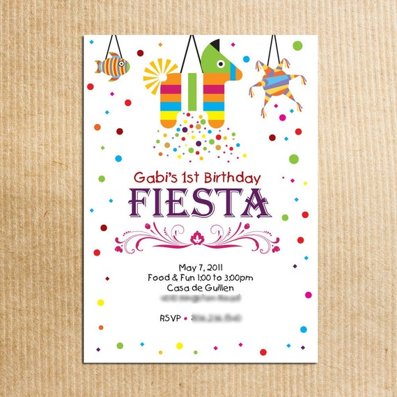 Childrens Fiesta Birthday Party Invitation - Stationery by razzledazzledesign on Etsy