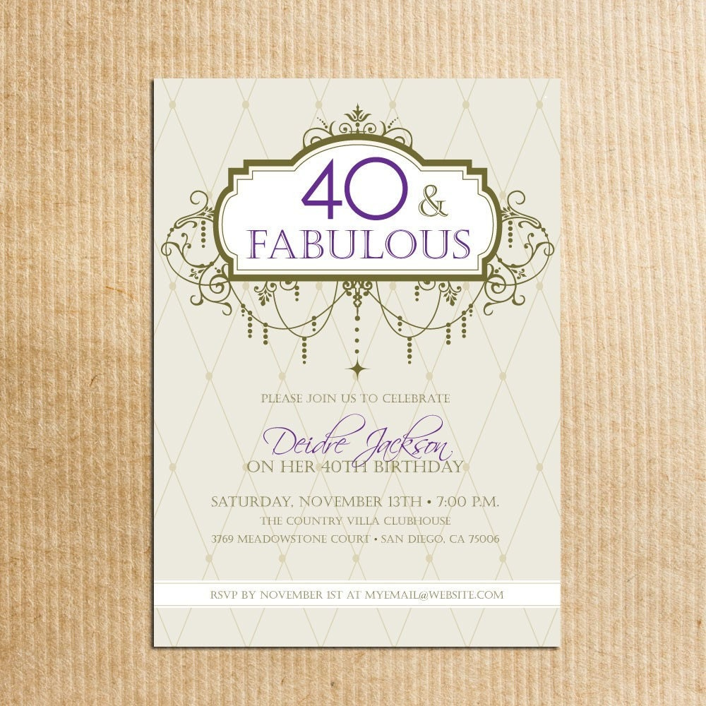 Adult 40th birthday party invitations digital file zoom monicamarmolfo Image collections