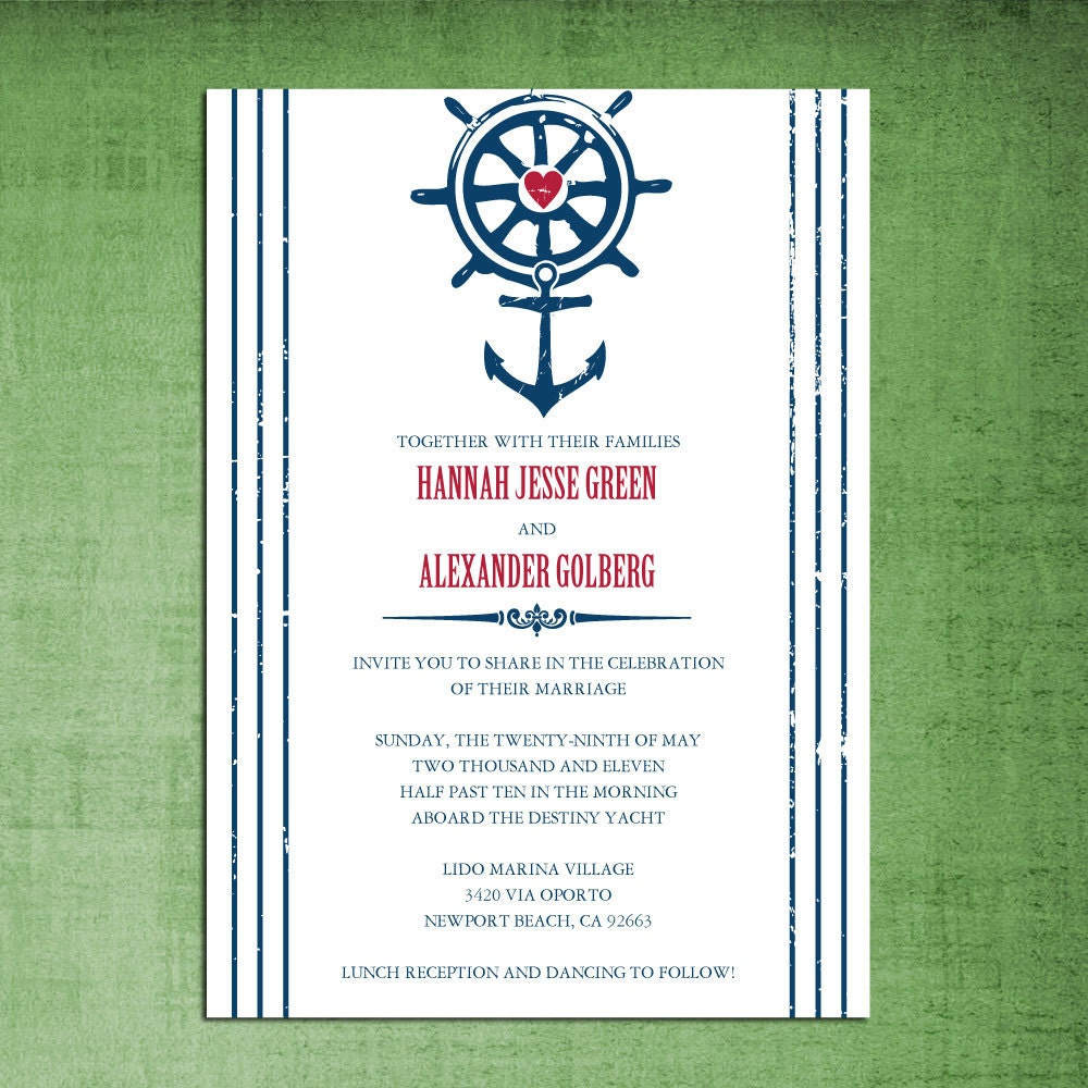 Beach Theme Card Stock: Nautical Beach Theme Wedding Invitations Rehearsal Dinner