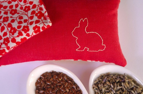 SALE Organic Eye Pillow - Lavender and Linseed - Red Rabbit