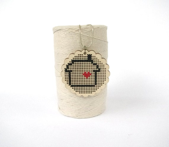 Laser-Cut Wood Necklace with Cross-Stitch - Home is Where the Heart Is - Red and Black