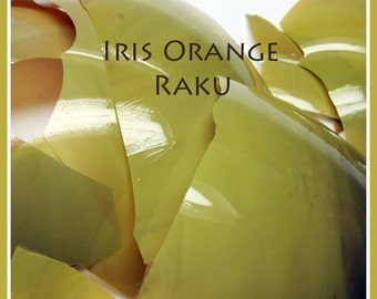 Iris Orange  Raku Jitterbug  Glass Shards - coe 104  - .2  oz