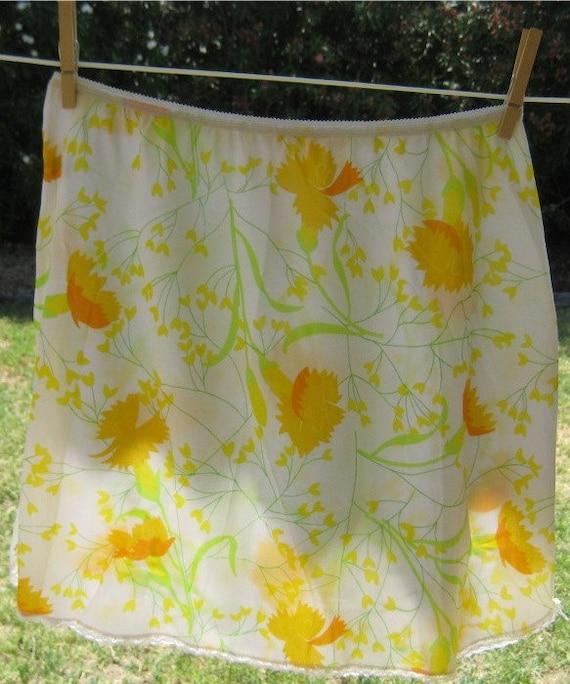 Vintage Olga White Nylon Half Slip with Yellow Flowers
