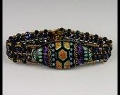 Dichroic Glass Beadwork, Beadwoven, Beaded Bracelet