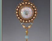 Beaded, Bead Embroidered, Dichroic Glass Necklace