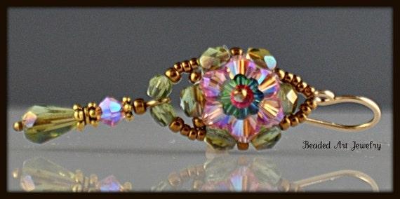 Reserved for Rosanne, Crystal Rose Flower Earrings