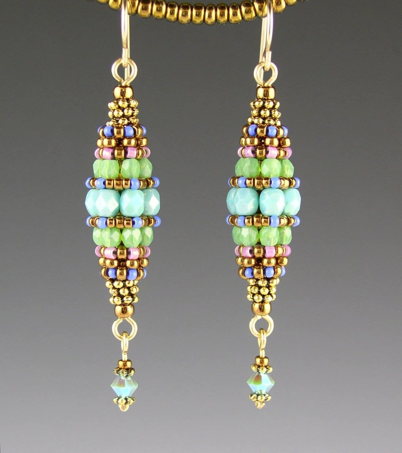 turquoise beaded bead earrings