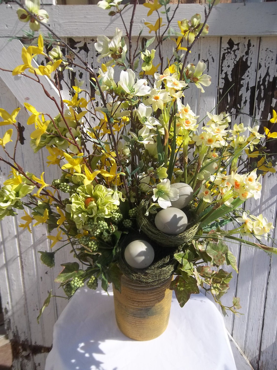 Flower centerpiece tall spring by marigoldsdesigns