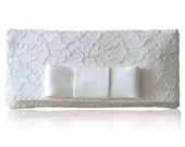 Ivory lace Astrid bow clutch purse