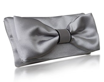 Silver satin Audrey bow clutch purse