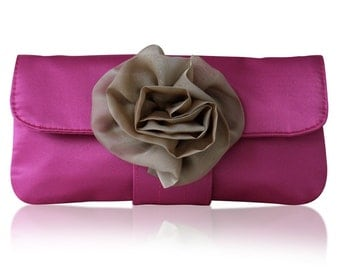 Fuchsia pink and champagne satin Eva clutch bag