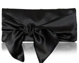 Black satin HOPE clutch purse evening bag, bridesmaids, mother of the bride