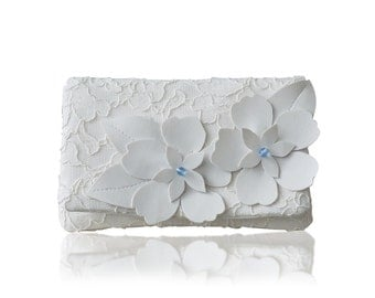 Something blue ivory lace Astor coin purse