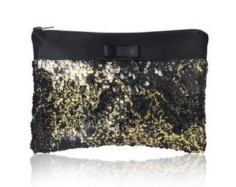 Gold and black Angelique sequin clutch