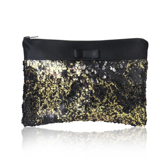 Gold and black Angelique sequin clutch