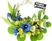 Blue Gentian and White daisy, Mini Flower Wreath