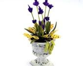 Lavender in antique Roman-Urn, dollhouse scale