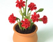 English Cottage Garden Miniature Polymer Clay Flowers, Red Carnation 1 pcs