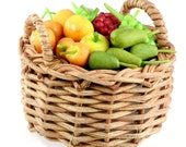 Pear, Peach and Grape, Polymer Clay Fruits in weaving basket