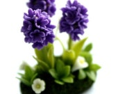 Miniature Plants Polymer Clay Flowers Supplies for Dollhouse, Violet Hyacinth, 1 pcs